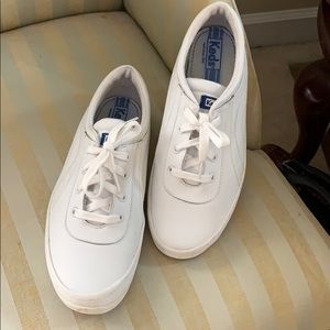 Ladies white leather Keds.
